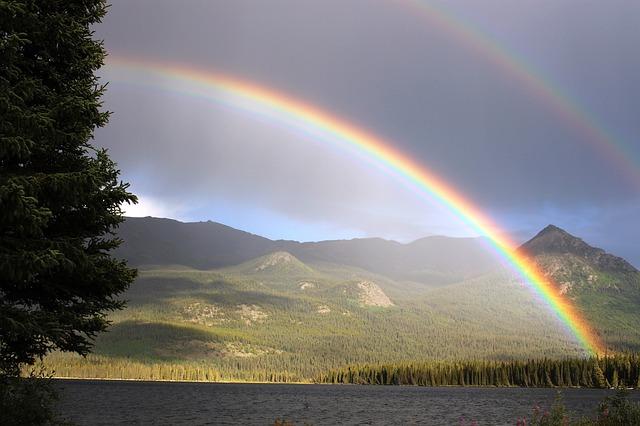 rainbow with rain
