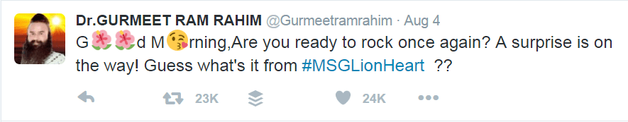 Sainty Dr Gurmeet Ram Rahim tweet for motion poster