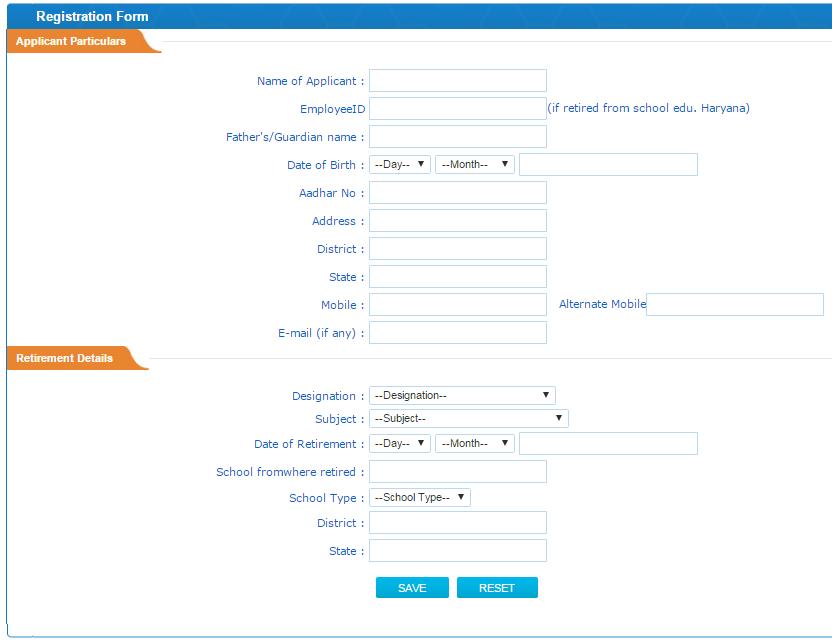 registration form haryana retired teachers