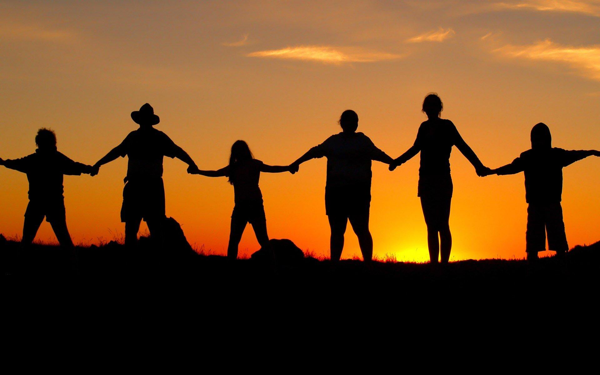 beach, human chain, chain, sunset