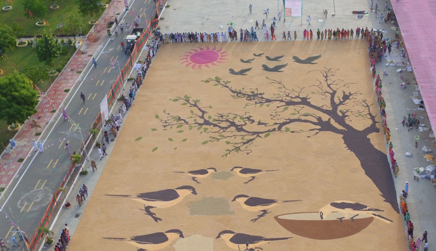 World's Largest Bird Nurturing mosaic, save birds, birds mosaic, dera sacha sauda world record